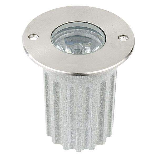 LED underground light  UG 05 12V silvery round 3W  45° IP67 warm white 3000K