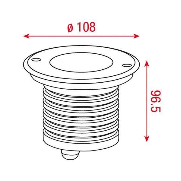 LED upotettu lattiavalaisin  UG 10 12V hopea  9W  45° IP67 lämmin valkoinen 3000K