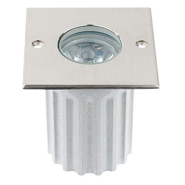 LED Süvistatav põrandavalgusti UG 06 hõbedane ruut 3W  45° IP67 külm valge 6000K