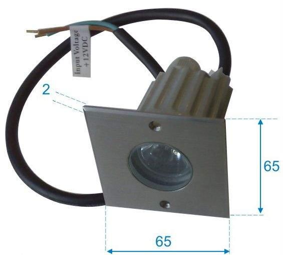 LED upotettu lattiavalaisin  UG 06 12V hopea neliö 3W  45° IP67 kylmä valkoinen 6000K