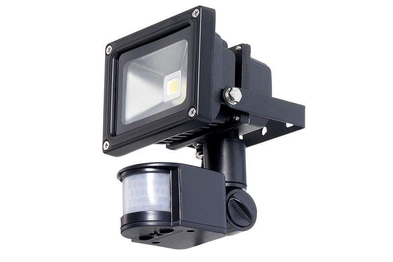 LED floodlight  COP + PIR black  010W 650lm  120° IP54 warm white 3000K