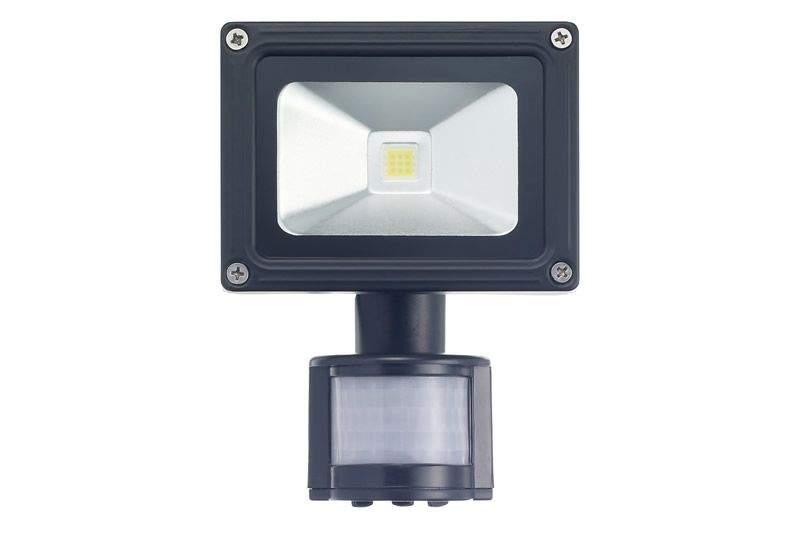 LED прожектор  COP + Датчик движения черный  010W 650lm  120° IP54 теплый белый 3000K
