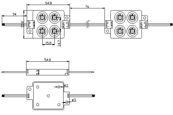 LED moduuli  4 x SMD 5050 12V  1,44W 70lm  120° IP65 päivänvalkoinen 4000K
