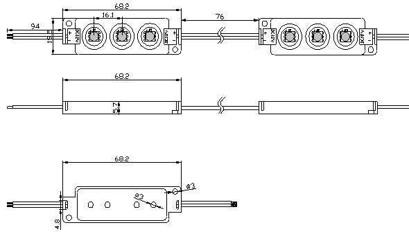 LED moduuli  3 x SMD 5050 12V valkoinen  720mW 54lm  120° IP65 päivänvalkoinen 4000K