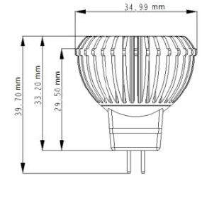LED polttimo  MR11 Luxeon 12V  3W 200lm GU5.3 45° kylmä valkoinen 6000K