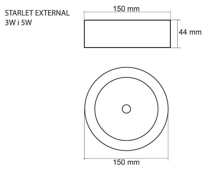 LED Turvavalgusti INTELIGHT LED Exit Starlet External A 3h valge ring 3W  IP41