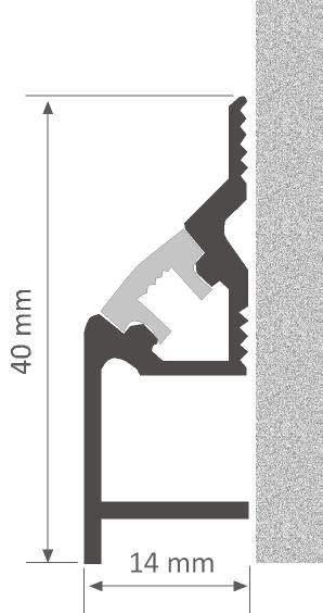 Alumiiniprofiili LUZ NEGRA Cambridge 2,4m hopea