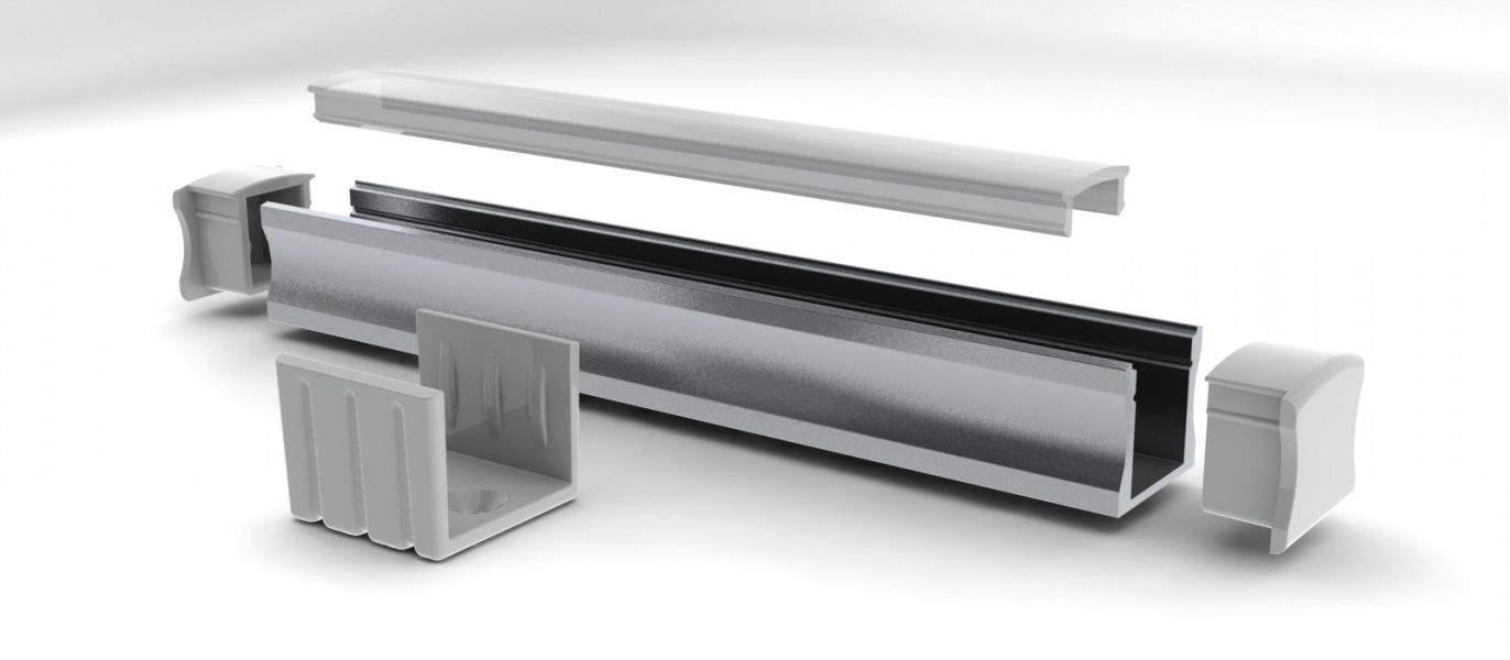 Alumiiniumprofiil Alumiiniumprofiil ALU SlimLine 15mm otsakork kaabliavata, alum.