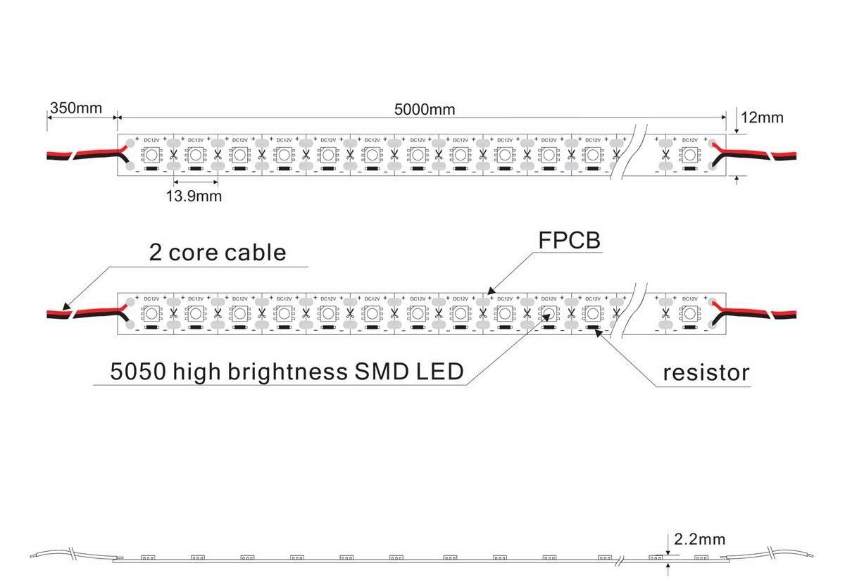 LED полоска PROLUMEN 5050 72LED 1m 12V  17,2W 1296lm  120° холодный белый 6000K