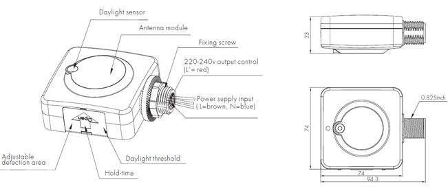 Датчик движения RF HC030S  800W  IP20