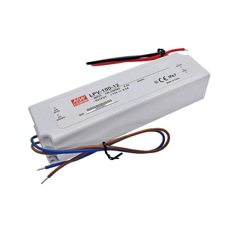 LED Toiteplokk MEAN WELL 12V DC  LPV-100-12 230V 100W IP67