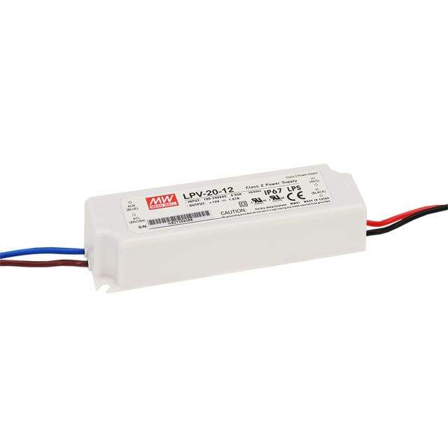 LED Toiteplokk 12V DC Mean Well LPV-20-12  20W  IP67