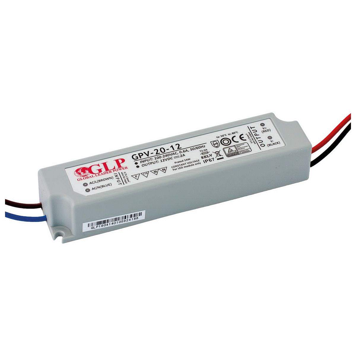 LED Toiteplokk GLP POWER 12V DC GPV-20-12  20W  IP67