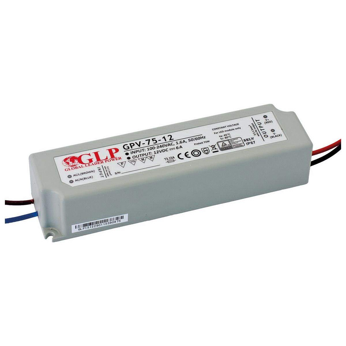 LED power supply unit LED power supply unit GLP POWER 12V DC GPV-75-12  72W  IP67