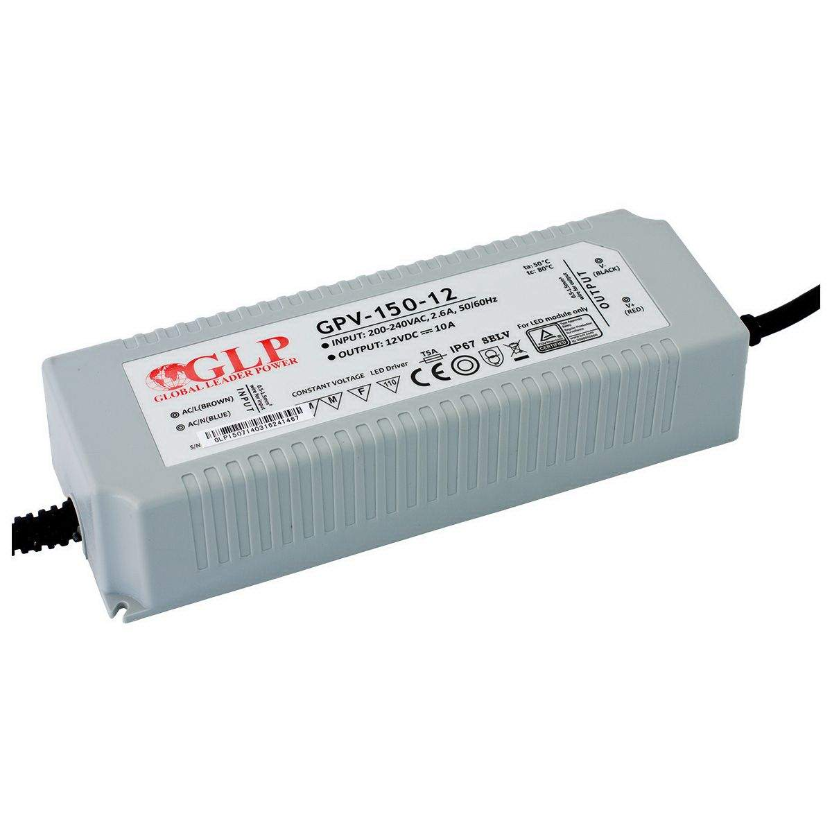 LED Toiteplokk GLP POWER 12V DC GPV-150-12 230V 150W IP67