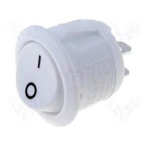 Button ON-OFF rocker switch 6A, a white circular 20mm white