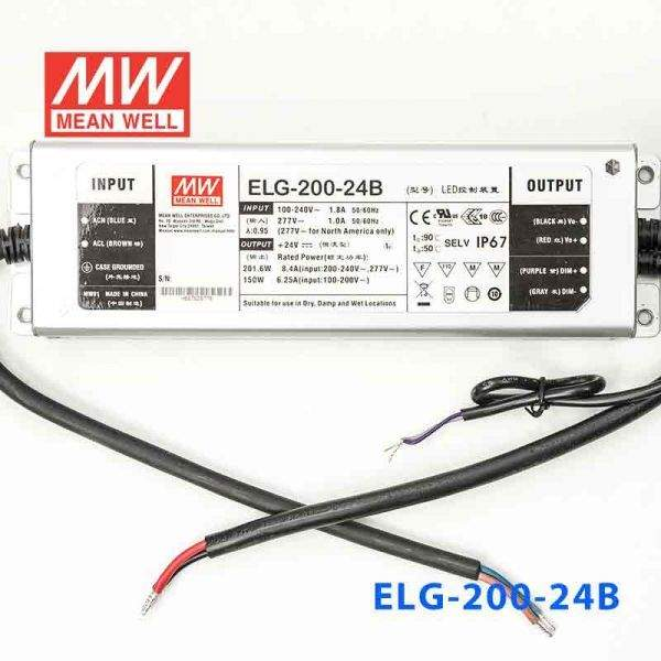 LED Toiteplokk 24DC Mean Well ELG-200-24B  200W  IP67