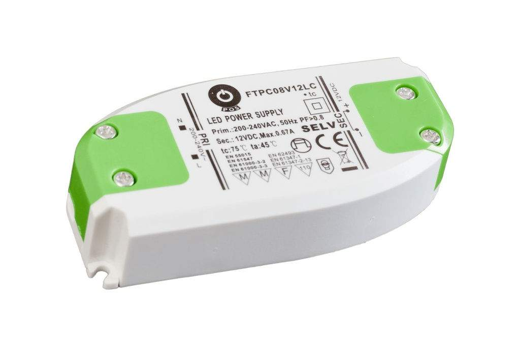 LED Toiteplokk POS POWER 12V DC Slim FTPC8V12LC  8W  IP20
