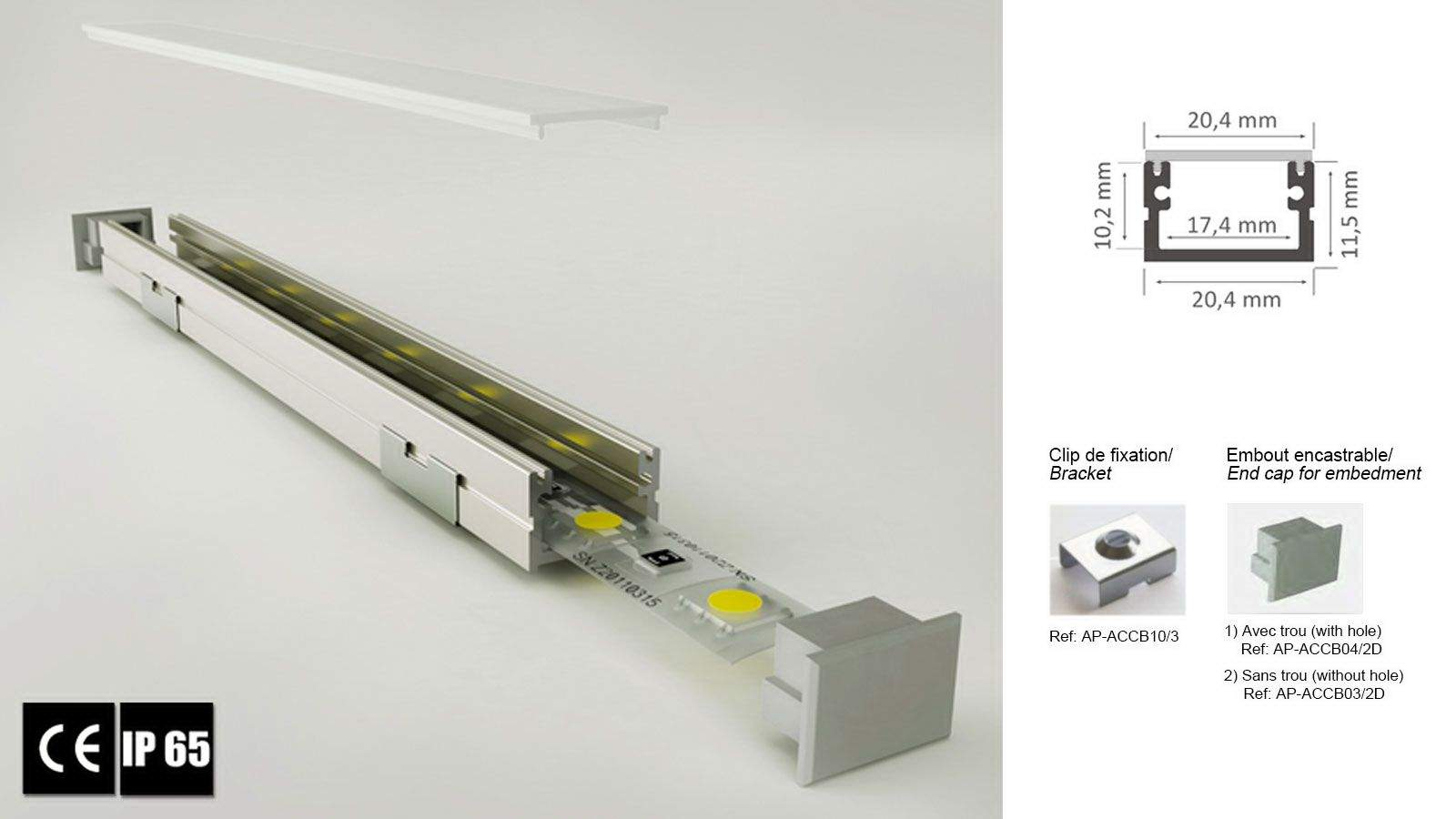 Alumiiniumprofiil LUZ NEGRA Roma XL 3m hõbedane