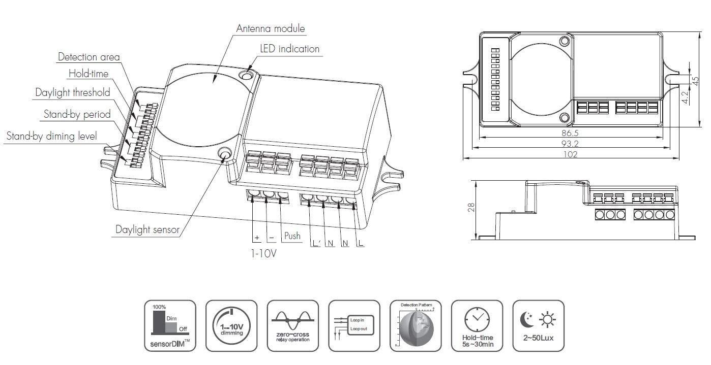 Motion detector HYTRONIK RF HC018V 0-10V