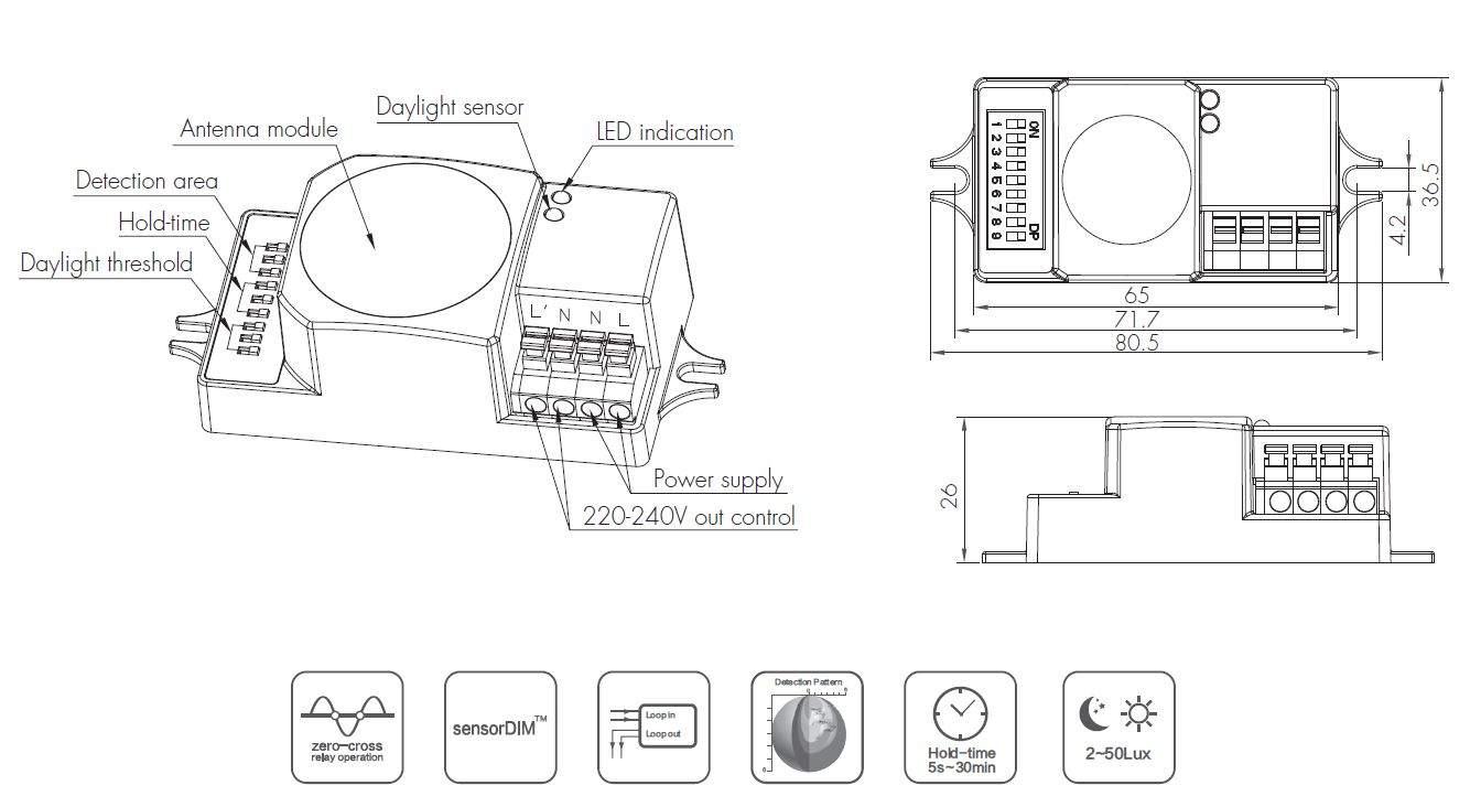 Датчик движения HYTRONIK HC005S   IP20
