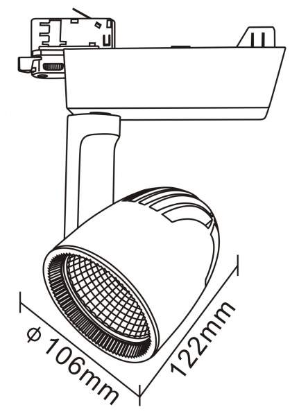 LED светильник на шине PROLUMEN Vantaa серый  40W 4000lm  45° дневной белый 4000K