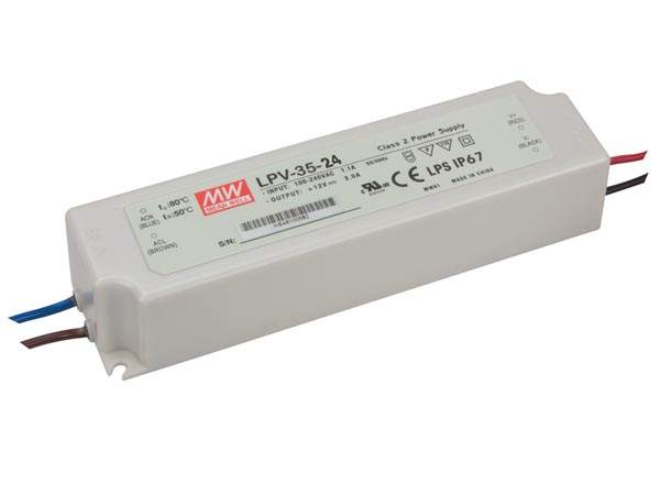 LED Toiteplokk MEAN WELL 24V DC  LPV-35-24  35W  IP67