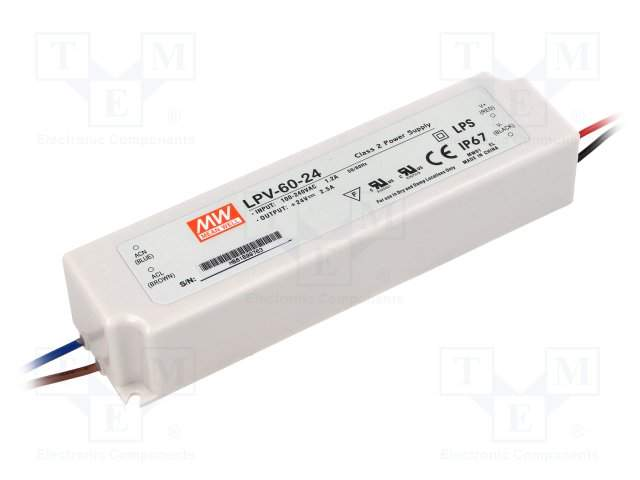 LED Toiteplokk MEAN WELL 24V DC  LPV-60-24 230V 60W IP67