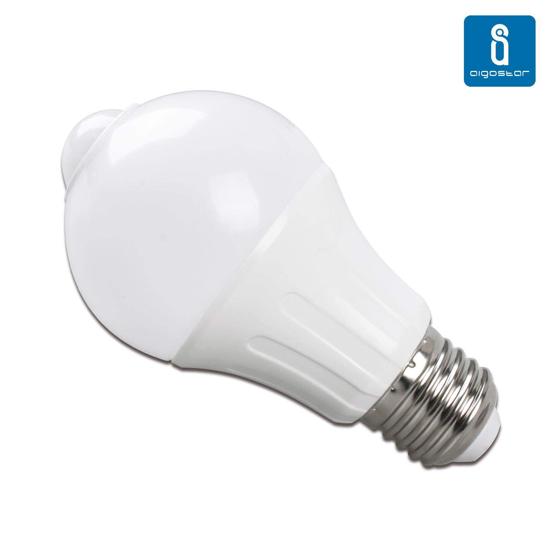 LED Pirn AIGOSTAR A5S A60B Liikumisanduriga 230V 6W 450lm CRI80 E27 280° IP20 3000K soe valge