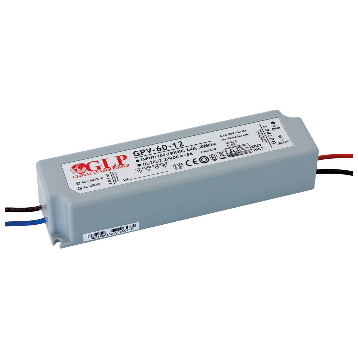 LED Toiteplokk GLP POWER 12V DC GPV-60-12  60W  IP67