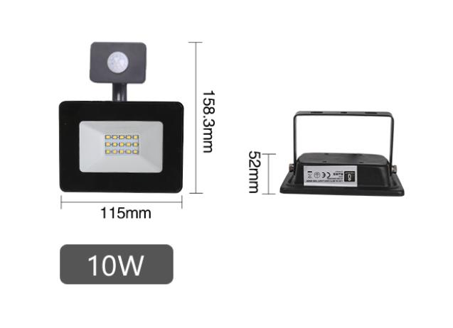 LED Prožektor AIGOSTAR liikumisanduriga must  10W 900lm  120° IP65 päevavalge 4000K