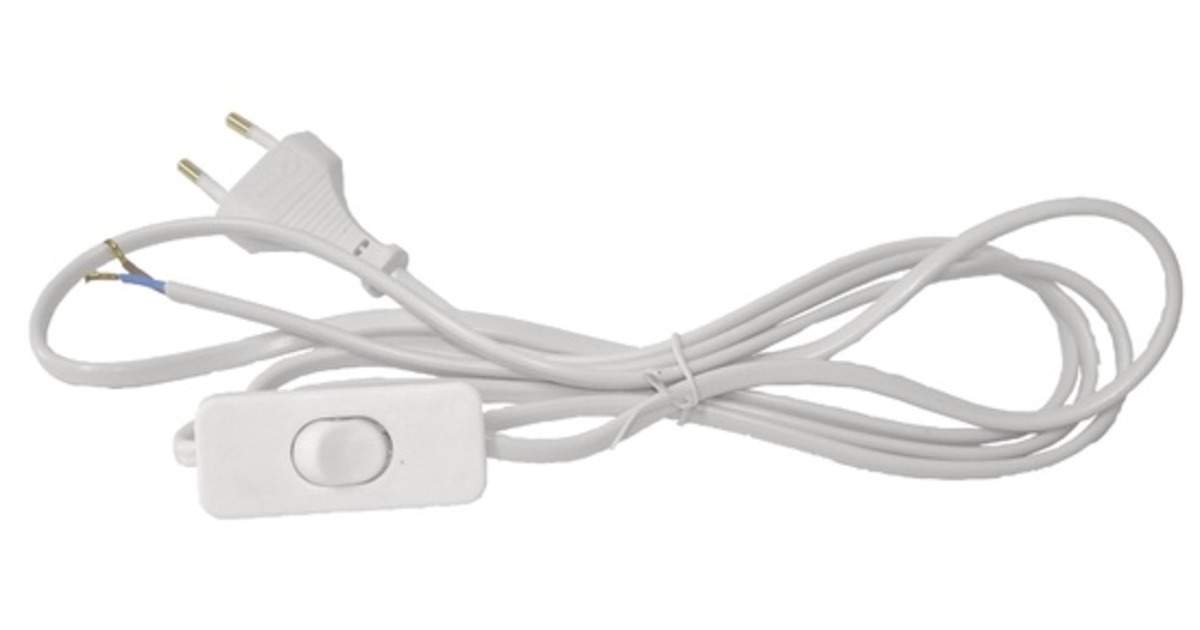 Cable  Cable with switch and socket 2m white
