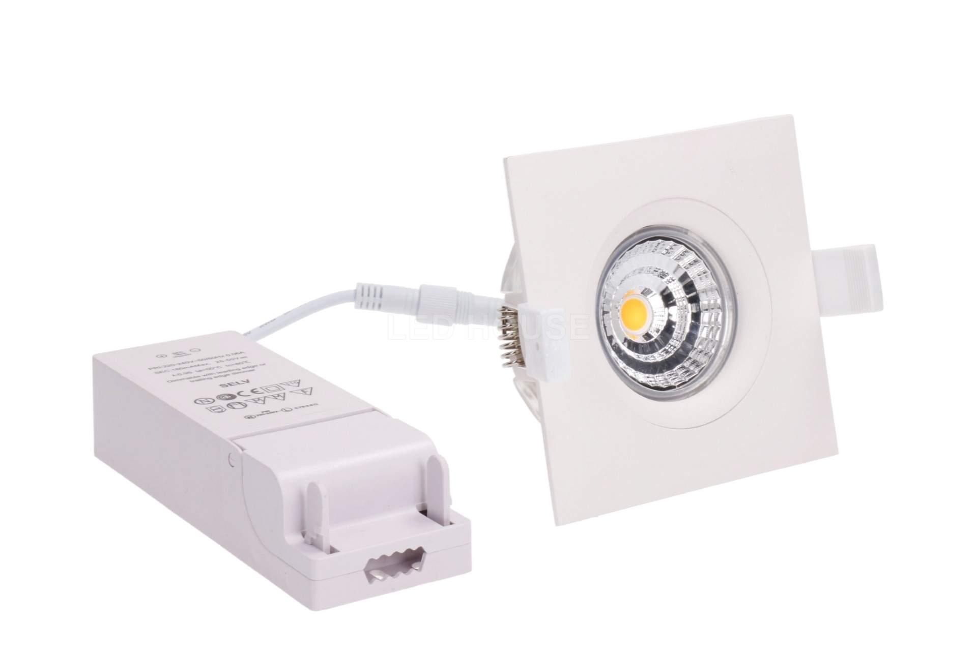 LED downlight LED downlight PROLUMEN Smart Plus 9WFS DIM white square 9W 720lm CRI90  45° IP44 3000K warm white