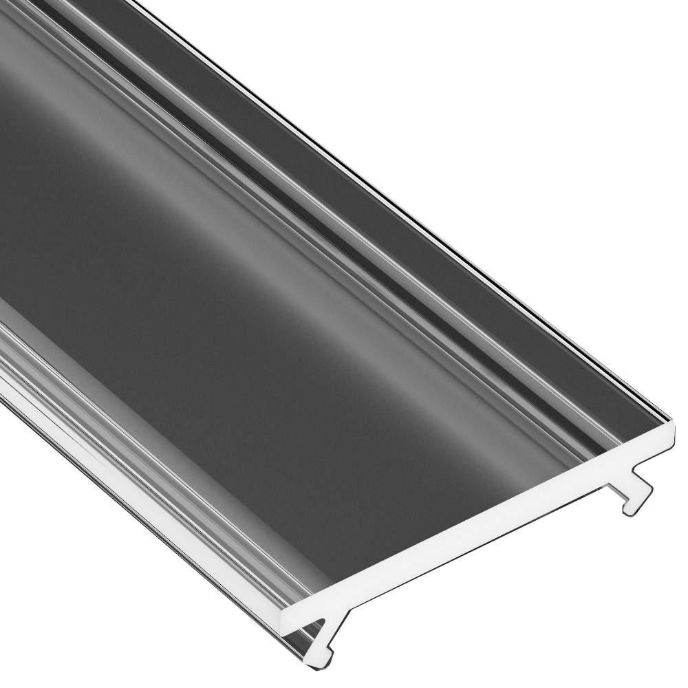 Aluminium profile cover LUMINES WIDE PMMA, 2m, transparent 94%