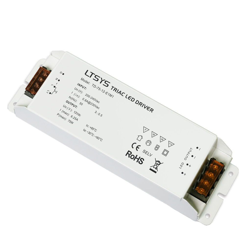 LED Toiteplokk LTECH 12V DC TD-75-12-E1M1 (TRIAC/ PUSH DIM) 230V 75W