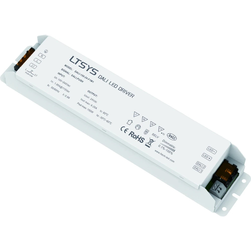 LED Toiteplokk LTECH 24V DC DALI-150-24- F1M1 (DALI / PUSH DIM) 230V 150W