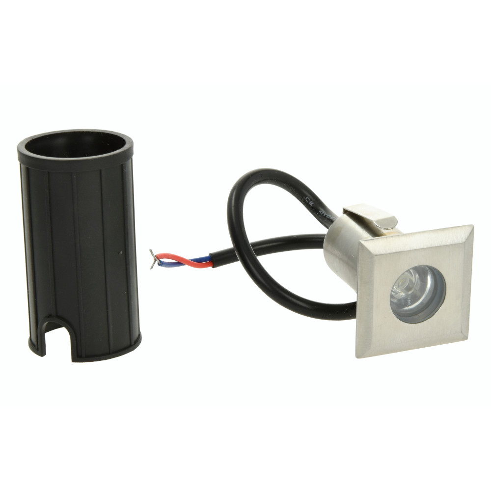 LED-lattiavalaisin REVAL BULB 45x45 hopea neliö 12V 2W 80lm CRI80 30° IP65 3000K lämmin valkoinen