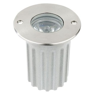 LED underground light  UG 05 12V silvery round 3W  45° IP67 warm white 3000K
