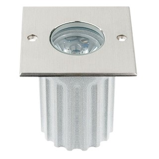 LED underground light  UG 06 12V silvery square 3W  45° IP67 warm white 3000K