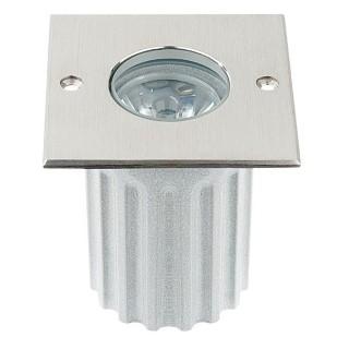 LED põrandavalgusti  UG 06 12V hõbedane ruut 3W  45° IP67 soe valge 3000K