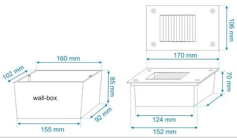LED seinavalgusti süvistatud ALRW03 230V 1.5W IP65 3000K soe valge
