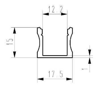 Alumiiniumprofiil ALU SlimLine 15mm 2m