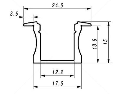 Alumiiniprofiili ALU SlimLine Recessed 15mm 2m