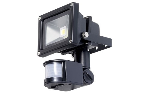 LED floodlight  COP + PIR black  010W 650lm  120° IP54 warm white 3000K