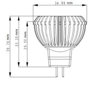 LED Pirn  MR11 Luxeon  12V 3W 125lm CRI80 G4 45° 3000K soe valge