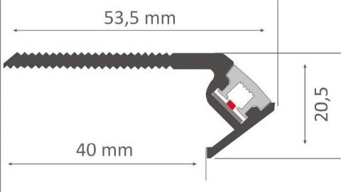 Alumiiniprofiili LUZ NEGRA Niza Eco 2,4m hopea