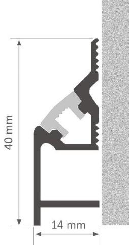Alumiiniumprofiil LUZ NEGRA Cambridge 2,4m hõbedane