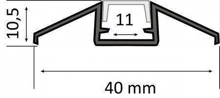 Alumiiniumprofiil LUZ NEGRA Zurich 2,4m hõbedane