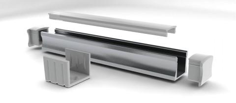 Aluminium profile  ALU SlimLine 15mm otsakork kaabliavata, alum.