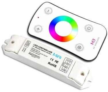 LED-nauhan ohjain + ohjausyksikkö LTECH Mini 3 RGB wheel remote valkoinen 12-24V 216W